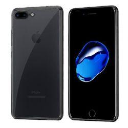 Funda de TPU con Borde Cromado Metalizado Negro - iPhone 7 Plus