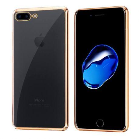 Funda de TPU con Borde Cromado Metalizado Dorado - iPhone 7 Plus