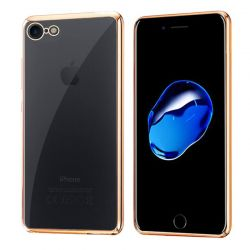 Funda de TPU con Borde Cromado Metalizado Oro - iPhone 7