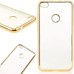 Funda de TPU con Borde Cromado Metalizado Oro - Huawei P8 Lite 2017