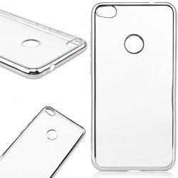 Funda de TPU con Borde Cromado Metalizado Plata - Huawei P8 Lite 2017