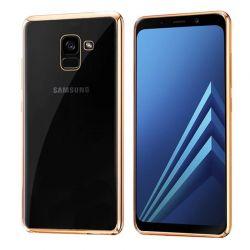 Funda de TPU Borde Cromado Metalizado Dorado - Samsung Galaxy A8 2018