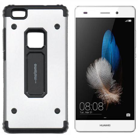 Funda trasera de Metal y TPU Motomo Shell para Huawei P8 Lite Plata