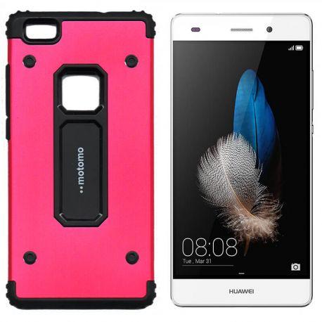 Funda trasera de Metal y TPU Motomo Shell para Huawei P8 Lite Rojo