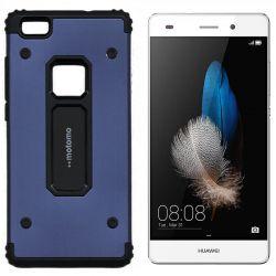 Funda trasera de Metal y TPU Motomo Shell para Huawei P8 Lite Azul