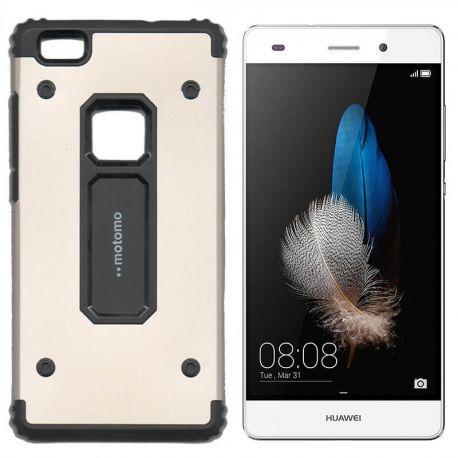 Funda trasera de Metal y TPU Motomo Shell para Huawei P8 Lite Dorado