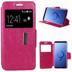 Funda libro con tapa, ventana y soporte - Samsung Galaxy S9 Rosa