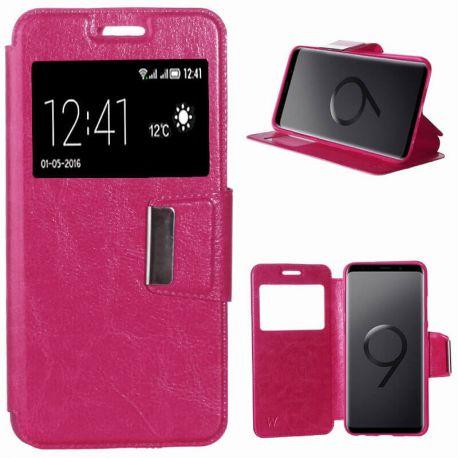 Funda libro con tapa, ventana y soporte - Samsung Galaxy S9 Plus Rosa