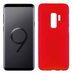 Funda de Silicona Mate y Lisa para Samsung Galaxy S9 Plus Rojo
