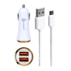Cargador de Coche doble usb 2.1A con cable micro usb blanco para móvil