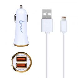 Cargador de Coche doble usb 2.1A con cable lightning para iPhone