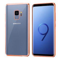 Funda de TPU con Borde Cromado Metalizado Oro Rosa - Samsung Galaxy S9