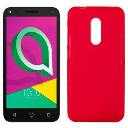 Funda de Silicona Mate Lisa para Alcatel U5 Plus Rojo