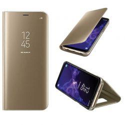 Funda de Espejo Dorado Clear View con soporte - Samsung Galaxy S9 Plus
