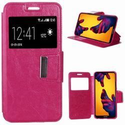 Funda de Libro con Tapa, Ventana y Soporte para Huawei P20 Lite Rosa