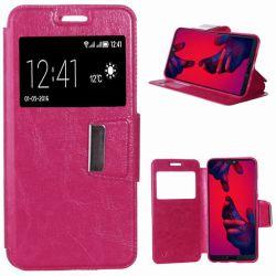 Funda de Libro con Tapa, Ventana y Soporte para Huawei P20 Pro Rosa