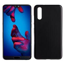 Funda de Silicona Mate Lisa para Huawei P20 color Negro
