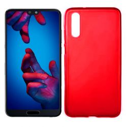Funda de Silicona Mate Lisa para Huawei P20 color Rojo