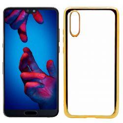 Funda de TPU con Borde Cromado Metalizado Dorado - Huawei P20
