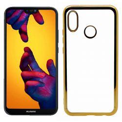Funda de TPU con Borde Cromado Metalizado Dorado - Huawei P20 Lite