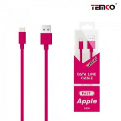 Cable Lightning Carga y Datos Temco para iPhone y iPad 1 Metro Rosa