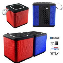 Altavoz Bluetooth Portatil Cubo S1016 con Ranura Micro SD, USB y Aux