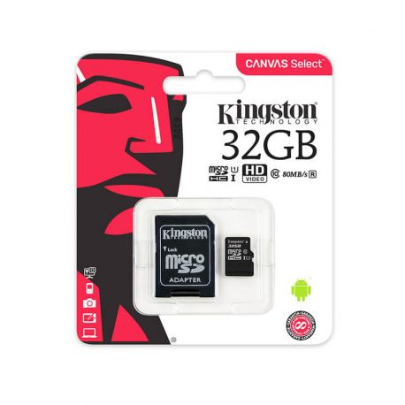 Tarjeta de Memoria Micro SD 32 GB Kingston Clase 10 UHS 1 Adaptador SD