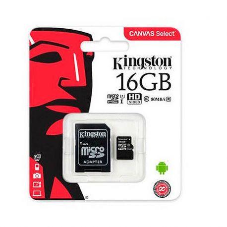Tarjeta de Memoria Micro SD 16 GB Kingston Clase 10 UHS 1 Adaptador SD
