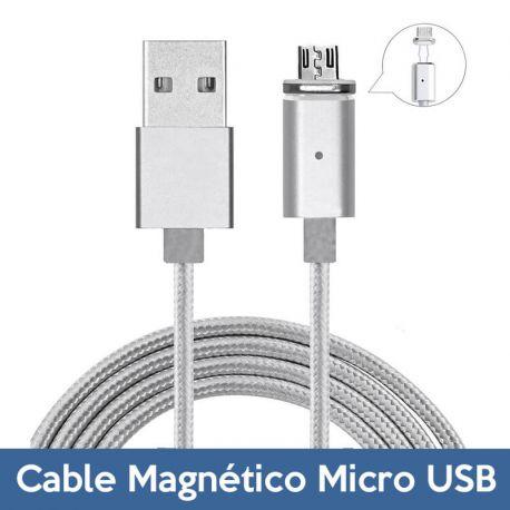 Cable de Carga y Datos USB a Micro USB Magnetico y Reversible con LED