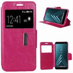 Funda libro con Tapa, Ventana y Soporte - Samsung Galaxy A6 Plus Rosa