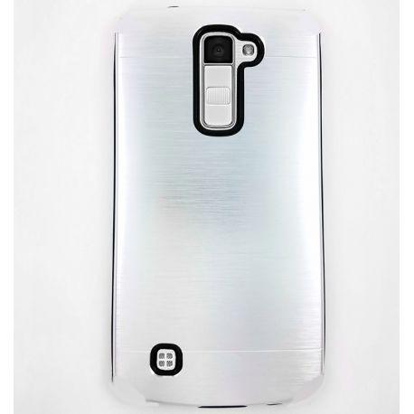 Funda trasera de Aluminio con interior Silicona para LG K10 Plata