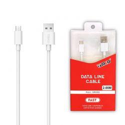 Cable Micro Usb Carga y Datos Temco para Móvil y Tablet de 2 Metros