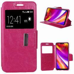Funda libro Flip Cover Tapa, Ventana y Soporte para LG G7 ThinQ Rosa