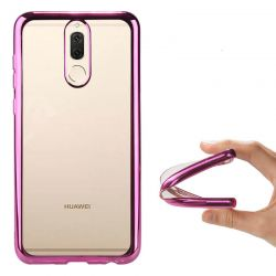 Funda de TPU con Borde Cromado Metalizado Oro Rosa - Huawei Mate 10 Lite
