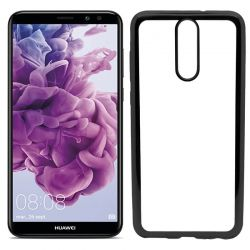 Funda de TPU con Borde Cromado Metalizado Negro - Huawei Mate 10 Lite