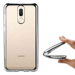 Funda de TPU con Borde Cromado Metalizado Plata - Huawei Mate 10 Lite