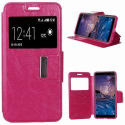 Funda de libro con Tapa, Ventana y Soporte para Nokia 7 Plus Rosa