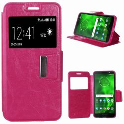 Funda libro Flip Cover Tapa, Ventana y Soporte Motorola Moto G6 Rosa