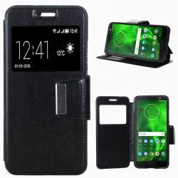 Funda libro Flip Cover Tapa, Ventana y Soporte Motorola Moto G6 Negro
