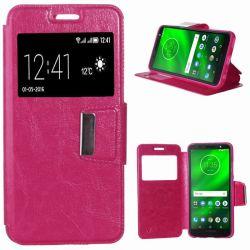 Funda de libro Tapa, Ventana y Soporte para Motorola Moto G6 Plus Rosa
