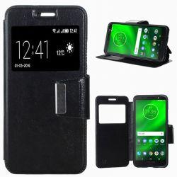 Funda libro Tapa, Ventana y Soporte para Motorola Moto G6 Plus Negro