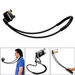 Soporte de cuello agarre ajustable y cable flexible para móvil - Negro
