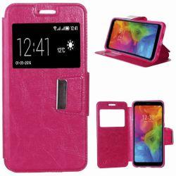 Funda libro Flip Cover Tapa, Ventana y Soporte para LG Q7 Rosa