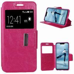 Funda libro Flip Cover Tapa Ventana y Soporte Huawei P Smart Plus Rosa