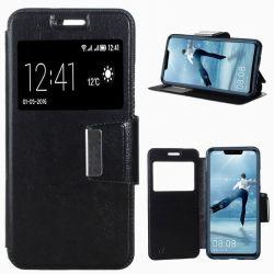 Funda Flip Cover con Tapa, Ventana y Soporte Huawei P Smart Plus Negro
