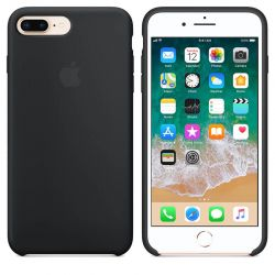 Funda de Silicona suave con logo para Apple iPhone 7 Plus / 8 Plus Negro