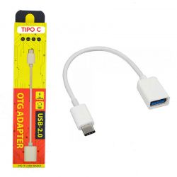 Cable OTG Blanco Tipo C a USB hembra para Móvil