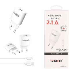 Cargador de Red Usb con cable Lightning 2.1A - Iphone 6 / 7 / 8 / X