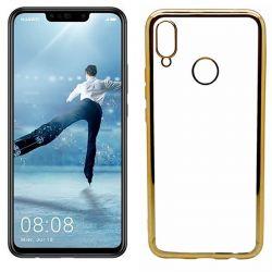 Funda de TPU con Borde Cromado Metalizado Dorado - Huawei P Smart Plus
