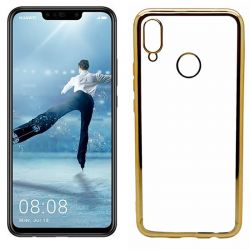 Funda de TPU con Borde Cromado Metalizado Dorado - Huawei P Smart Plus